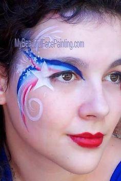 倫☜♥☞倫 Patriotic Independence Day face paint. Red, white and blue eye swirl with stars. Face Painting Tips, Adult Face Painting, Face Painting Designs, Face Paintings, Face Paint Makeup, Eye Makeup, Makeup Art, Blue Face Paint, 4th Of July Makeup