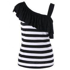 DressLily - Dresslily One Shoulder Overlay Striped T Shirt - AdoreWe.com