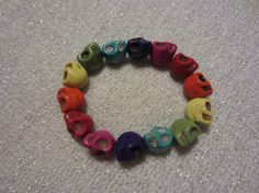 Rainbow Skull Stretch Bracelet by SummerCAmber on Etsy, $10.00