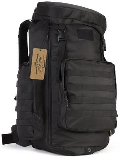 ArcEnCiel 70-85L Adjustable Capacity Outdoor Sports Bag Military Tactical Large Waterproof Molle Backpack Hiking Camping Trekking Gym Bags -Rain Cover Included (Black). 70L to 85L Capacity,High-intensity military-style specifications nylon, scratch-resistant, Not easy to fade. All the stitching and webbing, are used in military specification nylon material, longer straps slider, sleek, durable. Waterproof, to ensure the strength of the product while ensuring long-term use in wet…