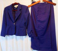 Casual Corner Petite Wool 8P Skirt Suit Purple #CasualCorner #SkirtSuit