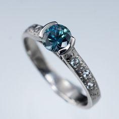 Fair Trade Teal Blue Montana Sapphire Half Bezel Star Dust Engagement Ring | Nodeform
