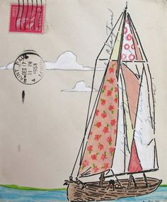 Sail Away With Me Honey/ Small Original Art on by amyriceart, $60.00