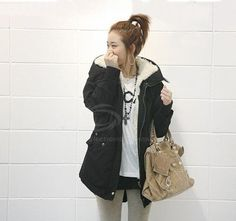 Korean Solid Color Cotton-Padded Hooded Long Sleeves Thicken Coat For Women (ARMY GREEN,ONE SIZE) | Sammydress.com