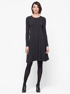 Jewel Neck Dress in Cozy Viscose Stretch Jersey by Eileen Fisher