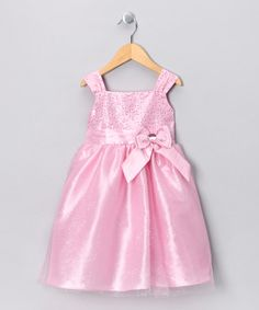 Take a look at this Light Pink Sequin Bow Dress - Infant, Toddler & Girls by So La Vita on #zulily today!
