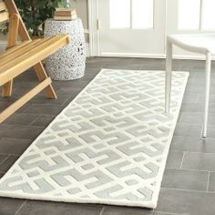 Safavieh Handmade Moroccan Chatham Grey/ Ivory Wool Rug (2'3 x 9') | Overstock.com Shopping - The Best Deals on Runner Rugs