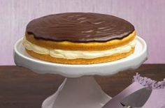 Boston Cream Pie recipe - OK, we admit it: It's really a cake—a cake with a delectable layer of creamy custard, topped with chocolate glaze. Pie, cake, whatever. We call it delicious. #ForDad