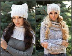 Котошапки - шапочки с ушками связанные спицами - Modnoe Vyazanie ru.com Neck Warmer, Cowl, Scarves, Winter Hats, Crochet Hats, Knitting, Fashion, Beret, Caps Hats