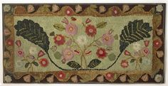 """Dimensions: Mounted 39 1/2"""" x 79 1/2""""   Date / Circa: 1840-60   Maker / Origin: New England   Medium: Wool on linen ground   Miscellaneous: An exceptional example for this early period that has survived in very fine condition."""