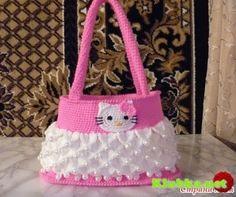 Bolsa blanco y rosa con una aplicación de Hello Kitty