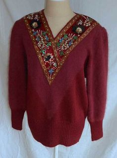 V neck embellished with pearls, colorful jewels, bugle beads, and sequins. Couture Outfits, Couture Dresses, Fashion Outfits, Cool Sweaters, Vintage Sweaters, Slouchy Sweater, Men Sweater, Vintage Dresses, Vintage Outfits