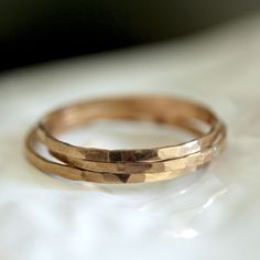 14k Gold Hammered Stacking Rings by Praxis Jewelry