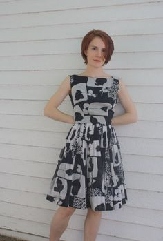 Vintage 50s Party Dress Sleeveless Print Black Gray XS by soulrust, $68.00