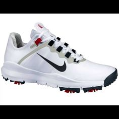 """BRAND NEW Men's Nike Tiger Woods """"TW"""" Golf Shoes New Men's Nike Tiger Woods """"TW"""" Golf Shoes Brand New In Box w/Tags Size: 10.5  FEATURES: •Leather •Rubber sole •Superior Feel-w/Free-Inspired outsole that mirrors the natural motion of the foot allowing freedom of movement releasing more power through the golf swing •Superior Fit-the dynamic fit extends from the foot bed to eyelets for 360 degrees of adaptive locked-down fit •Superior Function-the medial forefoot maintains ground contact for o"""
