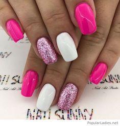 Pink, white and glitter mani