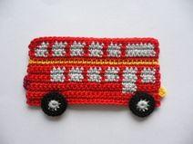 engl. Doppeldeckerbus - Häkelapplikation