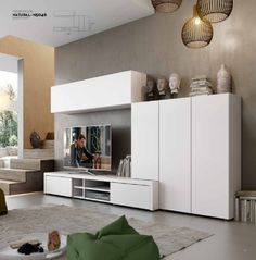 Modern Natural Wall Storage System with Cabinets and 2 Drawer TV Unit Living Room Tv, Home And Living, Living Room Furniture, Wall Storage Systems, Storage Solutions, Modern Tv Units, Tv Stand With Storage, Muebles Living, Tv Unit Design