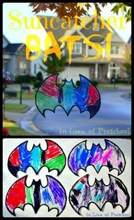 Suncatcher BATS!! Spookify your trees or windows for Halloween with this EASY art project for kids!! [In Lieu of Preschool] #bats #Halloween #crafts #kids