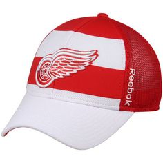 3bded46eac7 Detroit Red Wings Reebok Face Off Trucker Hat - White Red