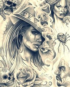 Classy Chicana Barrio Art and Graphics Chicano Tattoos, Art Chicano, Chicano Drawings, Body Art Tattoos, Tattoo Drawings, Prison Drawings, Gangster Tattoos, Tattoo Art, Arte Cholo