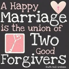 "Christian Funny Pictures - A time to laugh: ""A happy Marriage is the union of two good Forgive..."