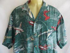 Paradise Found Hawaiian Shirt Mens Large Rayon Magnium PI Green VTG Airplanes…