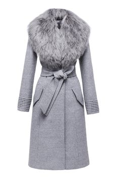 SENTALER Luxury Outerwear Langer Mantel mit Pelzkragen Source by Theclosetconsul Long Grey Coat, Long Fur Coat, Grey Fur Coat, Coats With Fur, Long Coats, Faux Fur Collar Coat, Outfit Essentials, Look Fashion, Winter Fashion