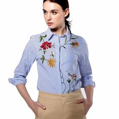 Women Elegant Floral Embroidery Blouse Shirt Top Long Sleeve Blouse Side Split Turn-Down Collar Casual Blouse Tops Blusas Zr15