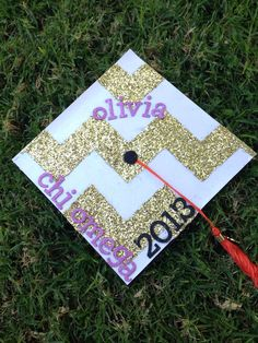 Decorated chi omega graduation cap