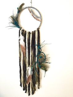 Bohemian Dreamcatcher Peacock Dreamcatcher by BlairBaileyDesign Dream Catcher Boho, Dream Catchers, Rose Gold Painting, Bohemian Wall Tapestry, Diy Tumblr, Feather Crafts, Peacock Feathers, Pony Beads, Yarn Crafts