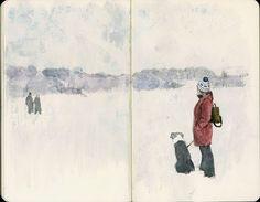 Frozen lake, in a sketchbook.