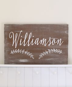 (Z183380) Brown & White Laurel Personalized Wall Sign