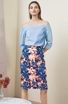 Pair this colorful, sophisticated, bold skirt with an off the shoulder top for a versatile polished look
