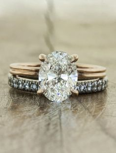 I would just die | Ken & Dana Design  This absolutely would be my dream ring and wedding band....love the distressed metal look
