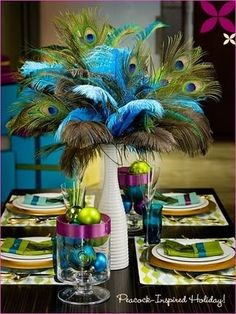 thought of you with the peacock feathers! Fall Wedding Ideas: Non Floral Centerpieces for Your Reception Table Peacock Wedding Decorations, Non Floral Centerpieces, Peacock Decor, Peacock Theme, Party Decoration, Table Decorations, Peacock Colors, Table Centerpieces, Centerpiece Ideas