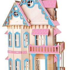 Dollhouse with mini furniture set - Pink & Blue 3d Puzzles, Build Your Own, Dollhouses, Pink Blue, Furniture Sets, Models, Holiday Decor, Mini, Building
