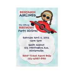Are you planning an #airplane theme for your next kids #birthday #party? This adorable little #pilot flying his red airplane into the blue can be customized with your party details. A cute invitation for an airline party, airplane party, airplane birthday party, little pilot party. Fly the Birthday Airlines. :)