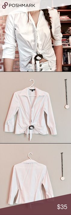 bdb50f1b501 White Collar Crop Top A sweet, super cute white collared shirt with a  circular wooden
