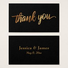 #Thank You in Faux Smooth Gold Script Wedding Favor Business Card - #wedding gifts #marriage love couples
