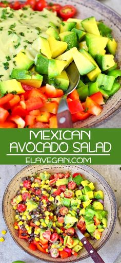 Mexican Food Recipes 402861129170932429 - Creamy Mexican Avocado Salad which is filling but still light and perfect for lunch or as a side dish for dinner. This recipe is vegan, gluten-free, healthy, easy to make, and has an oil-free dressing. Taco Side Dishes, Mexican Side Dishes, Mexican Salads, Healthy Side Dishes, Side Dish Recipes, Mexican Potluck, Potluck Side Dishes, Mexican Dinners, Healthy Mexican Recipes