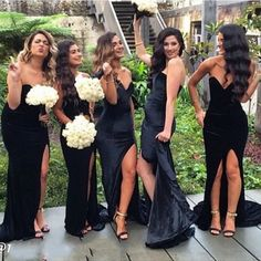 Long bridesmaid dress, black bridesmaid dress, side split bridesmaid dress, sweet heart bridesmaid dress, mermaid bridesmaid dresspd2101147