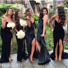 Long bridesmaid dress, black bridesmaid dress, side split bridesmaid dress, sweet heart bridesmaid dress, mermaid bridesmaid dresspd2101147