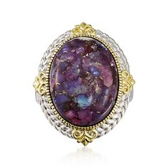Wow I am in love! So pretty! Purple Turquoise Ring in Two-Tone