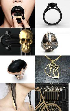Gold Black elegant accessories  by OJ Finkel on Etsy--Pinned with TreasuryPin.com