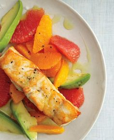 pan-roasted sea bass with citrus and avocado oil. Omg I want to eat this right now