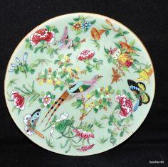 WONDERFUL EXTREEM CANTON CELADON CHINESE PORCELAIN PLATE DISH BUTTERFLYS NR 11 & 19c Antique Chinese Celadon Platter Famille Rose Butterflies Birds ...