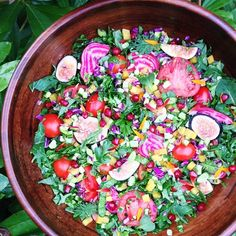 Delicious salad!  Mix of lettuce, baby kale, baby spinach, collard seedlings, tomatoes, purple cabbage, chioggia beets, steamed yellow beet,...