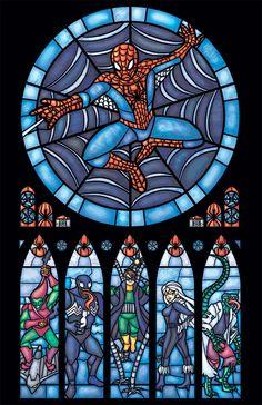 Vitral Homem-Aranha por Marissa Garner.