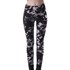 Plus size 4XL 2017 Sportings Women s Black Milk Workout Leggings Crow Printed  Fitness Pant Slim Jeggings 82950456e31e